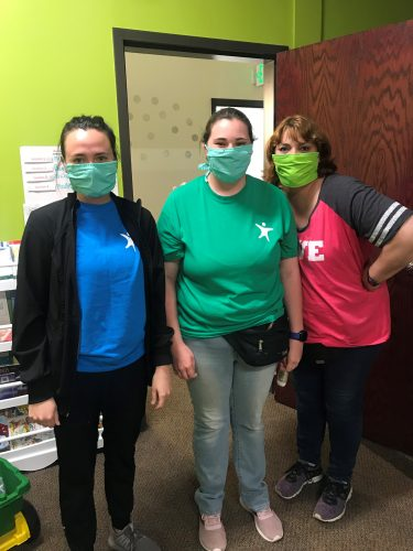 Autism Therapists where masks to protect children.